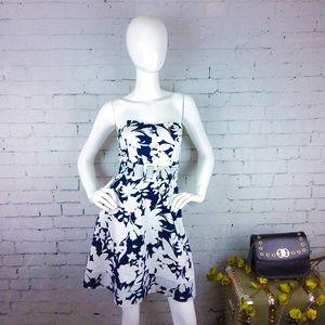 GUC B. Darlin strapless navy & white floral dress